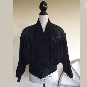 BLACK FRINGED WESTERN JACKET Suede Vtg 70-80's USA